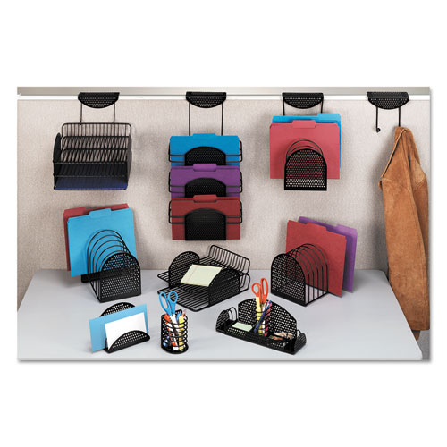 Perf-Ect Partition Additions Three-Pocket Organizer, 12 1/2 x 21 3/8, Black. Picture 3