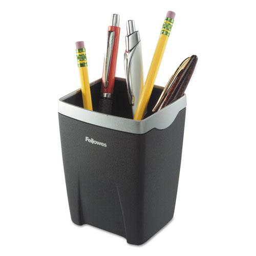Office Suites Divided Pencil Cup, Plastic, 3 1/16 x 3 1/16 x 4 1/4, Black/Silver. Picture 1