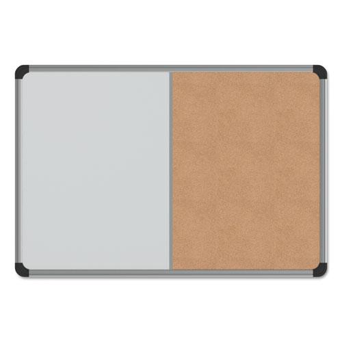 Cork/Dry Erase Board, Melamine, 24 x 18, Black/Gray Aluminum/Plastic Frame. Picture 1