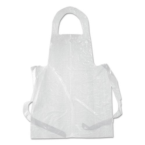 Poly Apron, White, 28 in. x 55 in., 1 mil., One Size Fits All, 100/Pack. Picture 1