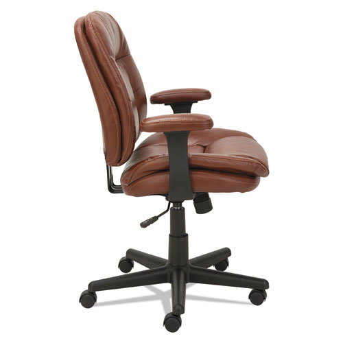 Swivel/Tilt Leather Task Chair, Supports up to 250 lbs., Chestnut Brown Seat/Chestnut Brown Back, Black Base. Picture 2