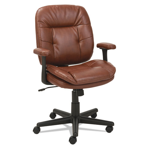 Swivel/Tilt Leather Task Chair, Supports up to 250 lbs., Chestnut Brown Seat/Chestnut Brown Back, Black Base. Picture 3