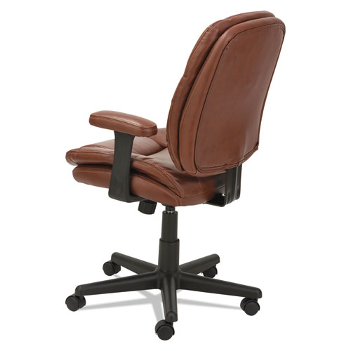 Swivel/Tilt Leather Task Chair, Supports up to 250 lbs., Chestnut Brown Seat/Chestnut Brown Back, Black Base. Picture 4