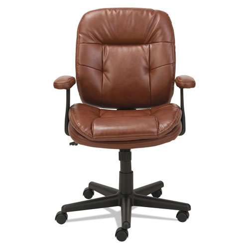 Swivel/Tilt Leather Task Chair, Supports up to 250 lbs., Chestnut Brown Seat/Chestnut Brown Back, Black Base. Picture 1