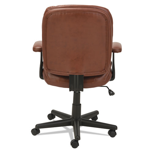 Swivel/Tilt Leather Task Chair, Supports up to 250 lbs., Chestnut Brown Seat/Chestnut Brown Back, Black Base. Picture 5