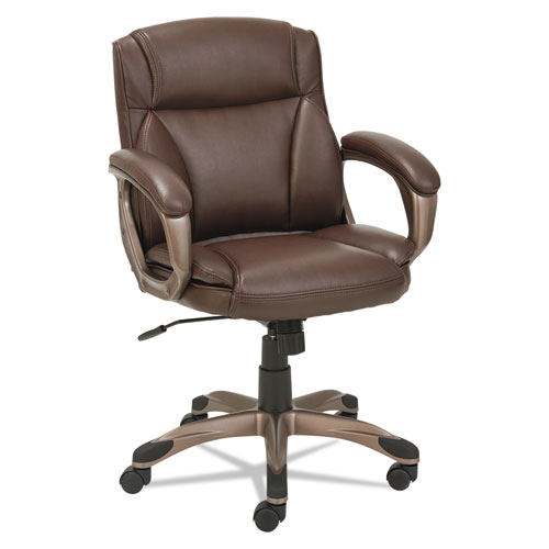 Alera Veon Series Low-Back Bonded Leather Task Chair, Supports up to 275 lbs, Brown Seat/Brown Back, Bronze Base. Picture 1