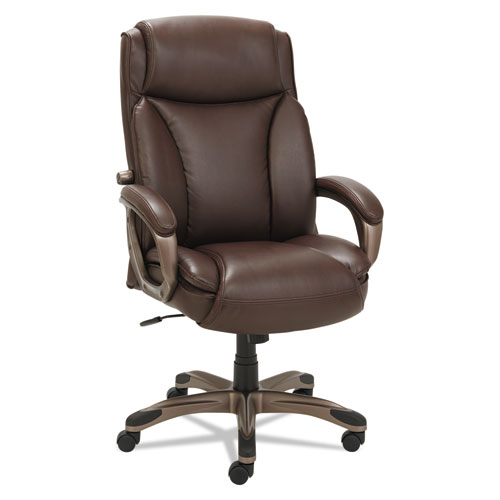 Alera Veon Series Executive High-Back Bonded Leather Chair, Supports up to 275 lbs., Brown Seat/Brown Back, Bronze Base. Picture 3