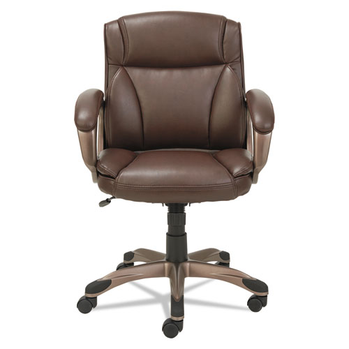Alera Veon Series Low-Back Bonded Leather Task Chair, Supports up to 275 lbs, Brown Seat/Brown Back, Bronze Base. Picture 2