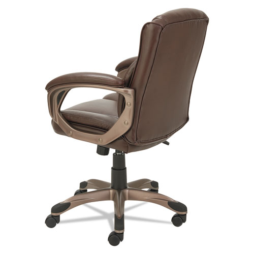 Alera Veon Series Low-Back Bonded Leather Task Chair, Supports up to 275 lbs, Brown Seat/Brown Back, Bronze Base. Picture 4