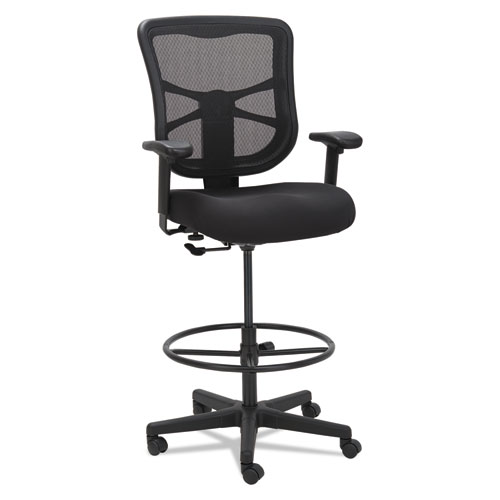 "Alera Elusion Series Mesh Stool, 31.6"" Seat Height, Supports up to 275 lbs., Black Seat/Black Back, Black Base. Picture 1"