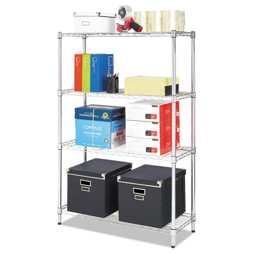 Residential wire shelving four shelf 36w x 14d x 54h silver for How to increase cabinet depth