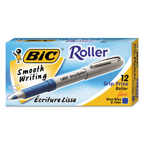 Roller Glide Roller Ball Pen, Stick, Fine 0.7 mm, Blue Ink, Gray Barrel, Dozen. Picture 1