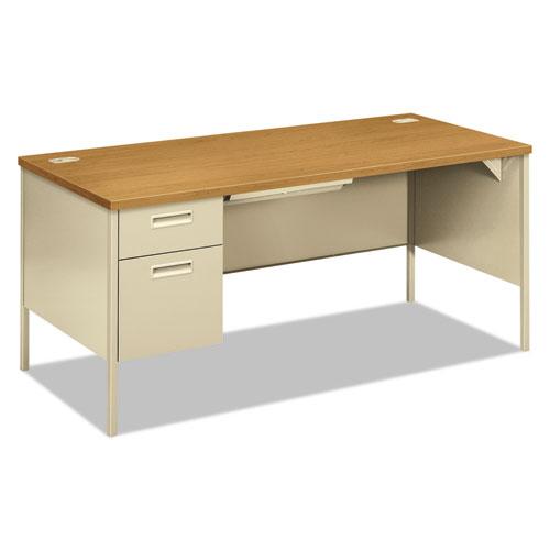 "Metro Classic Series Left Pedestal ""L"" Workstation Desk, 66"" x 30"" x 29.5"", Harvest/Putty. Picture 1"