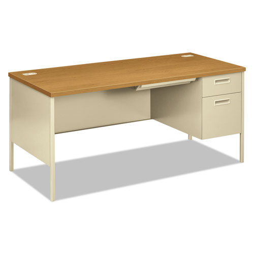 "Metro Classic Series Right Pedestal ""L"" Workstation Desk, 66"" x 30"" x 29.5"", Harvest/Putty. Picture 1"