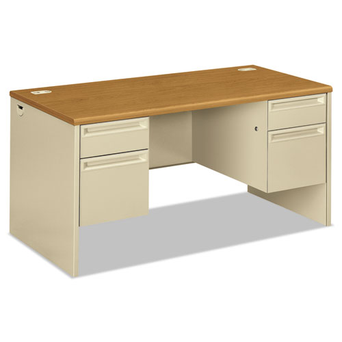 38000 Series Double Pedestal Desk, 60w x 30d x 29.5h, Harvest/Putty. The main picture.