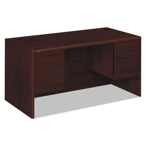 """10700 Series Double Pedestal Desk with Three-Quarter Height Pedestals, 60"""" x 30"""" x 29.5"""", Mahogany. Picture 1"""