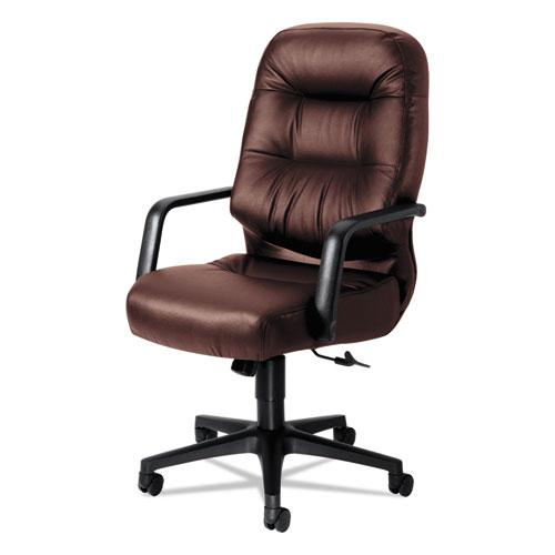 """Pillow-Soft 2090 Series Executive High-Back Swivel/Tilt Chair, Supports 300 lb, 16.75"""" to 21.25"""" Seat, Burgundy, Black Base. Picture 1"""