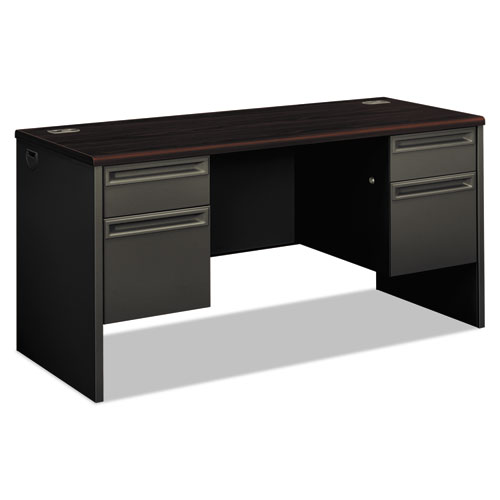 38000 Series Kneespace Credenza, 60w x 24d x 29.5h, Mahogany/Charcoal. The main picture.