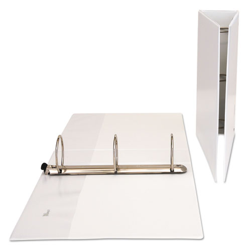 """Deluxe Easy-to-Open Round-Ring View Binder, 3 Rings, 3"""" Capacity, 11 x 8.5, White. Picture 2"""