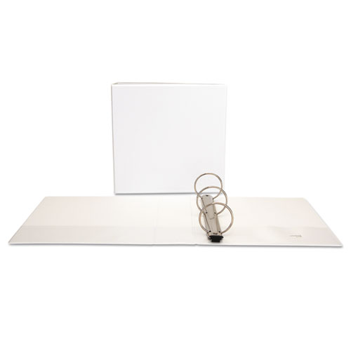 """Deluxe Easy-to-Open Round-Ring View Binder, 3 Rings, 3"""" Capacity, 11 x 8.5, White. Picture 1"""