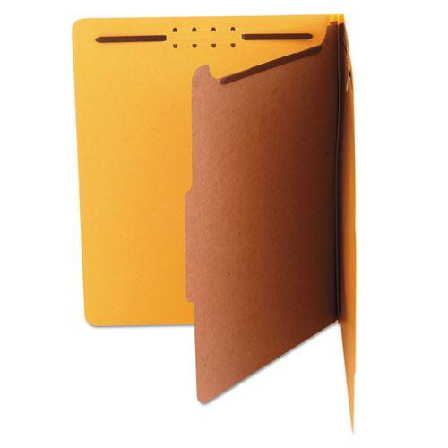 Bright Colored Pressboard Classification Folders, 1 Divider, Letter Size, Yellow, 10/Box. Picture 3
