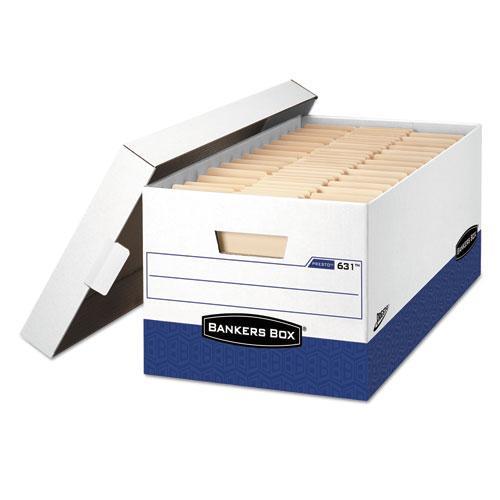 """PRESTO Heavy-Duty Storage Boxes, Letter Files, 13"""" x 25.38"""" x 10.5"""", White/Blue, 12/Carton. Picture 1"""