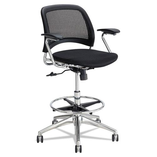 Reve Mesh Extended-Height Chair, Supports up to 250 lbs., Black Seat/Black Back, Chrome Base. Picture 1