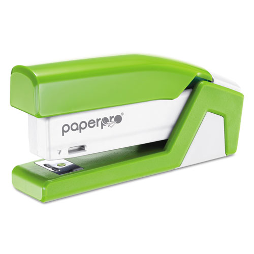 InJoy Spring-Powered Compact Stapler, 20-Sheet Capacity, Green. Picture 1