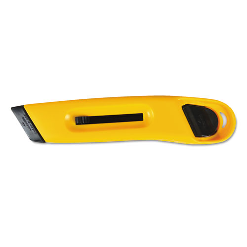 Plastic Utility Knife with Retractable Blade and Snap Closure, Yellow. Picture 1