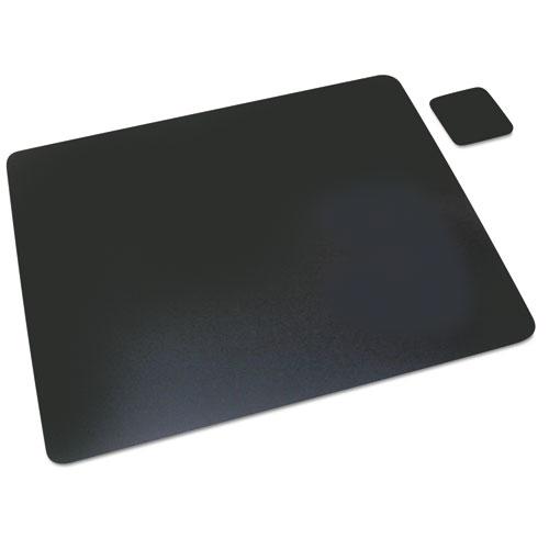 Leather Desk Pad w/Coaster, 19 x 24, Black. Picture 1