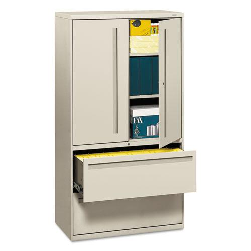 700 Series Lateral File with Storage Cabinet, 36w x 18d x 64.25h, Light Gray. Picture 1