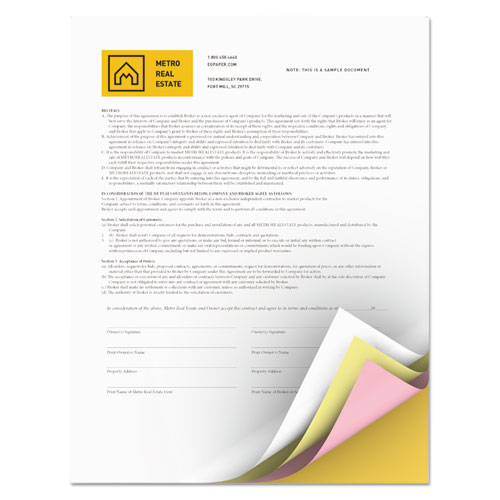 Vitality Multipurpose Carbonless 4-Part Paper, 8.5 x 11, Canary/Goldenrod/Pink/White, 5, 000/Carton. Picture 2