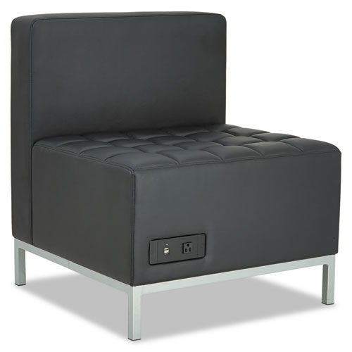 Alera QUB Series Powered Armless L Sectional, 26.38w x 26.38d x 30.5h, Black. Picture 1