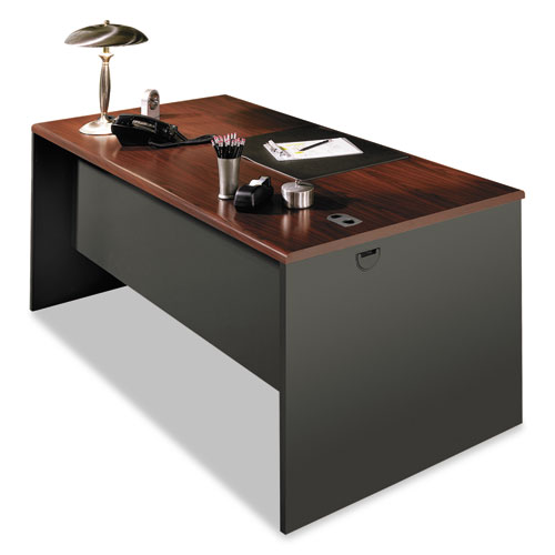 """38000 Series Desk Shell, 60"""" x 30"""" x 29.5"""", Mahogany/Charcoal. Picture 1"""