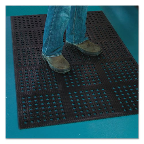 Pro Lite Four-Way Drain Mat, 36 x 60, Black. Picture 1