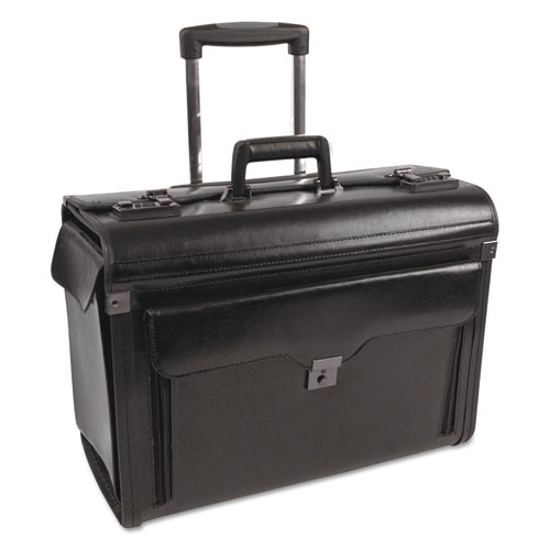 Catalog Case on Wheels, Leather, 19 x 9 x 15-1/2, Black. Picture 1