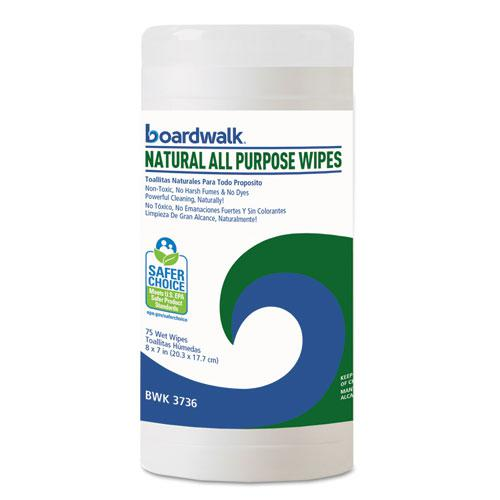 Natural All Purpose Wipes, 7 x 8, Unscented, 75 Wipes/Canister, 6/Carton. Picture 1
