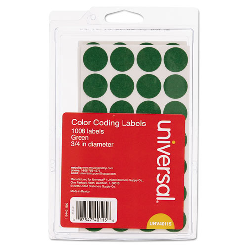 "Self-Adhesive Removable Color-Coding Labels, 0.75"" dia., Green, 28/Sheet, 36 Sheets/Pack. Picture 1"