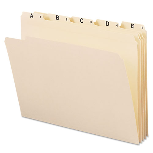 Indexed File Folder Sets, 1/5-Cut Tabs, A-Z, Letter Size, Manila, 25/Set. Picture 1