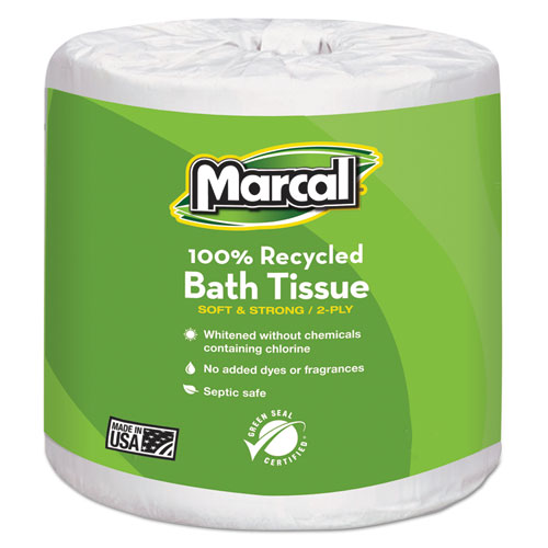 100% Recycled Two-Ply Bath Tissue, White, 48 Rolls/Carton. Picture 1