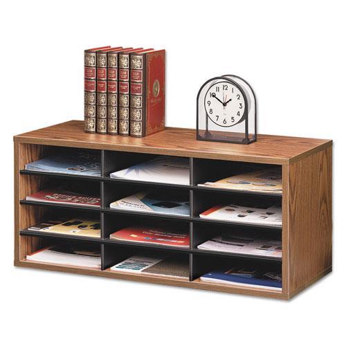 Particle Board Desktop Sorter, 12 Section, 29 x 11 7/8 x 12 15/16, Medium Oak. Picture 1