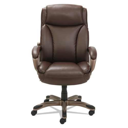 Alera Veon Series Executive High-Back Bonded Leather Chair, Supports up to 275 lbs., Brown Seat/Brown Back, Bronze Base. Picture 2