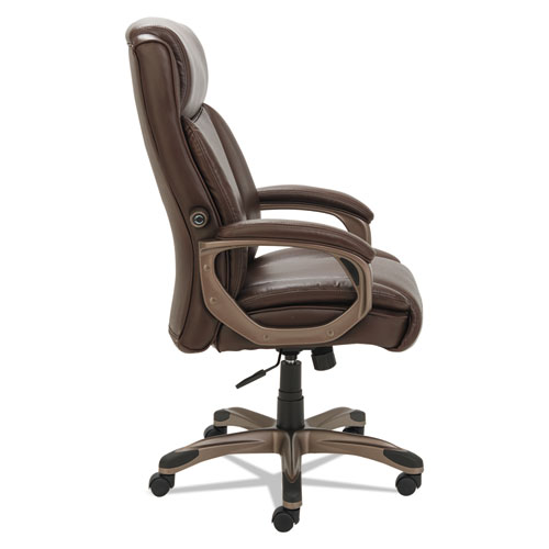 Alera Veon Series Executive High-Back Bonded Leather Chair, Supports up to 275 lbs., Brown Seat/Brown Back, Bronze Base. Picture 4