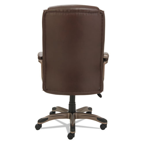 Alera Veon Series Executive High-Back Bonded Leather Chair, Supports up to 275 lbs., Brown Seat/Brown Back, Bronze Base. Picture 5
