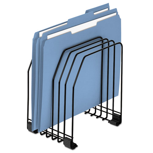 """Wire Organizer, 7 Sections, Letter to Legal Size Files, 7.38"""" x 5.88"""" x 8.25"""", Black. Picture 1"""