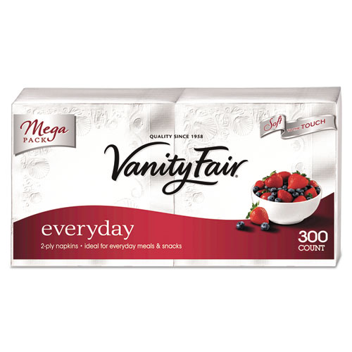 Vanity Fair Everyday Dinner Napkins, 2-Ply, White, 300/Pack. Picture 1