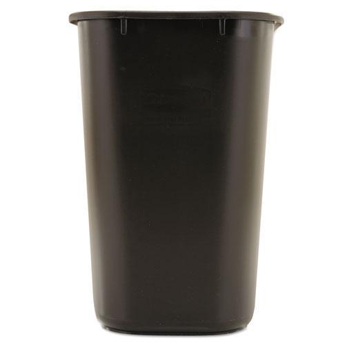 Deskside Plastic Wastebasket, Rectangular, 7 gal, Black. Picture 2
