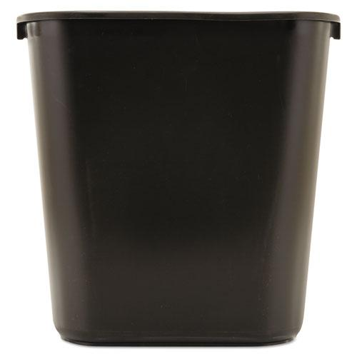 Deskside Plastic Wastebasket, Rectangular, 7 gal, Black. Picture 1