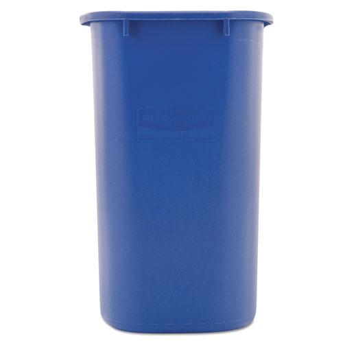 Medium Deskside Recycling Container, Rectangular, Plastic, 28.13 qt, Blue. Picture 2