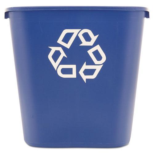 Medium Deskside Recycling Container, Rectangular, Plastic, 28.13 qt, Blue. Picture 1